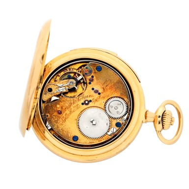 View 2. Thumbnail of Lot 196. A rare and fine gold hunting cased keyless lever watch with alarm  Circa 1919, no. 62977.