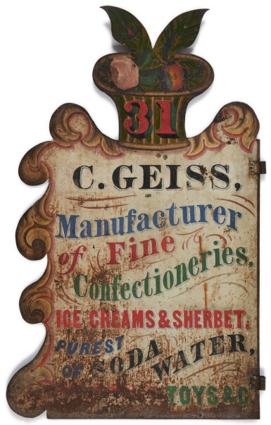 View 2. Thumbnail of Lot 1482. POLYCHROME PAINT-DECORATED SHEET-IRON MANUFACTURER'S TRADE SIGN, C. GEISS, POSSIBLY OHIO, 19TH CENTURY.