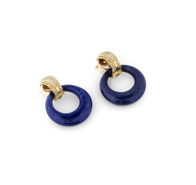 View 2. Thumbnail of Lot 131. Paire de clips d'oreille lapis-lazuli, onyx et diamants | Pair of lapis lazuli, onyx and diamond ear clips.