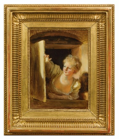 View 4. Thumbnail of Lot 73. JEAN HONORÉ FRAGONARD | A YOUNG WOMAN LEANING OUT OF A WINDOW.