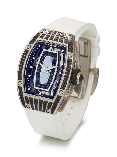 View 2. Thumbnail of Lot 351. RICHARD MILLE   RM07, A BRAND NEW WHITE GOLD, DIAMOND AND BLACK BAGUETTE-CUT SAPPHIRE-SET SEMI-SKELETONISED WRISTWATCH WITH MOTHER-OF-PEARL DIAL, CIRCA 2019.