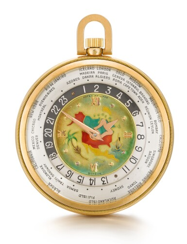 View 2. Thumbnail of Lot 126. PATEK PHILIPPE & CO., GENÈVE [百達翡麗,日內瓦] | AN EXTREMELY FINE AND RARE PINK GOLD OPEN-FACED KEYLESS LEVER WORLD TIME WATCH WITH CLOISONNÉ ENAMEL MAP OF NORTH AMERICA 1948, REF. 605 HU, MOVEMENT NO. 930.864, CASE NO. 654.949 [605HU型號極罕有粉紅金世界時間懷錶飾掐絲琺瑯彩繪北美洲地圖,1948年製,機芯編號930.864,錶殼編號654.949].