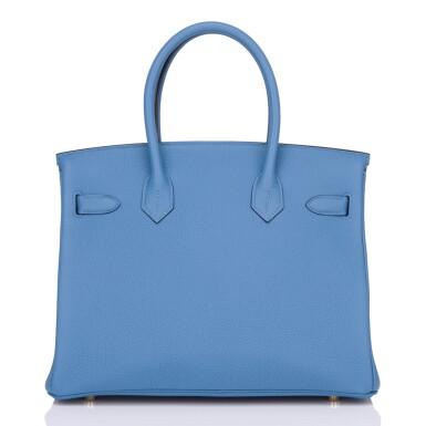 View 4. Thumbnail of Lot 22. Hermès Bleu Azur Birkin 30cm of Togo Leather with Gold Hardware.