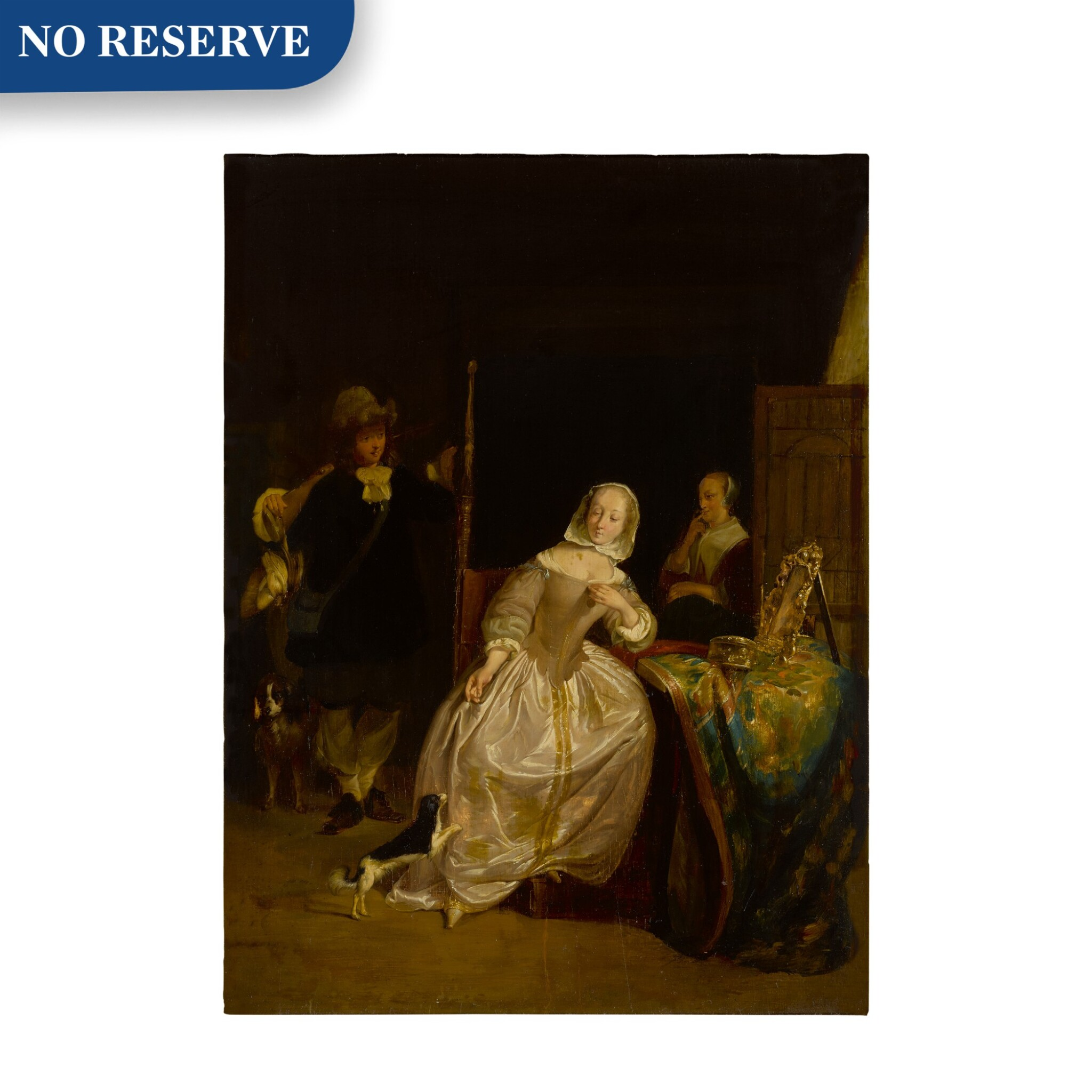 View full screen - View 1 of Lot 20. A man returning from a hunt, greeted by a lady in an interior.