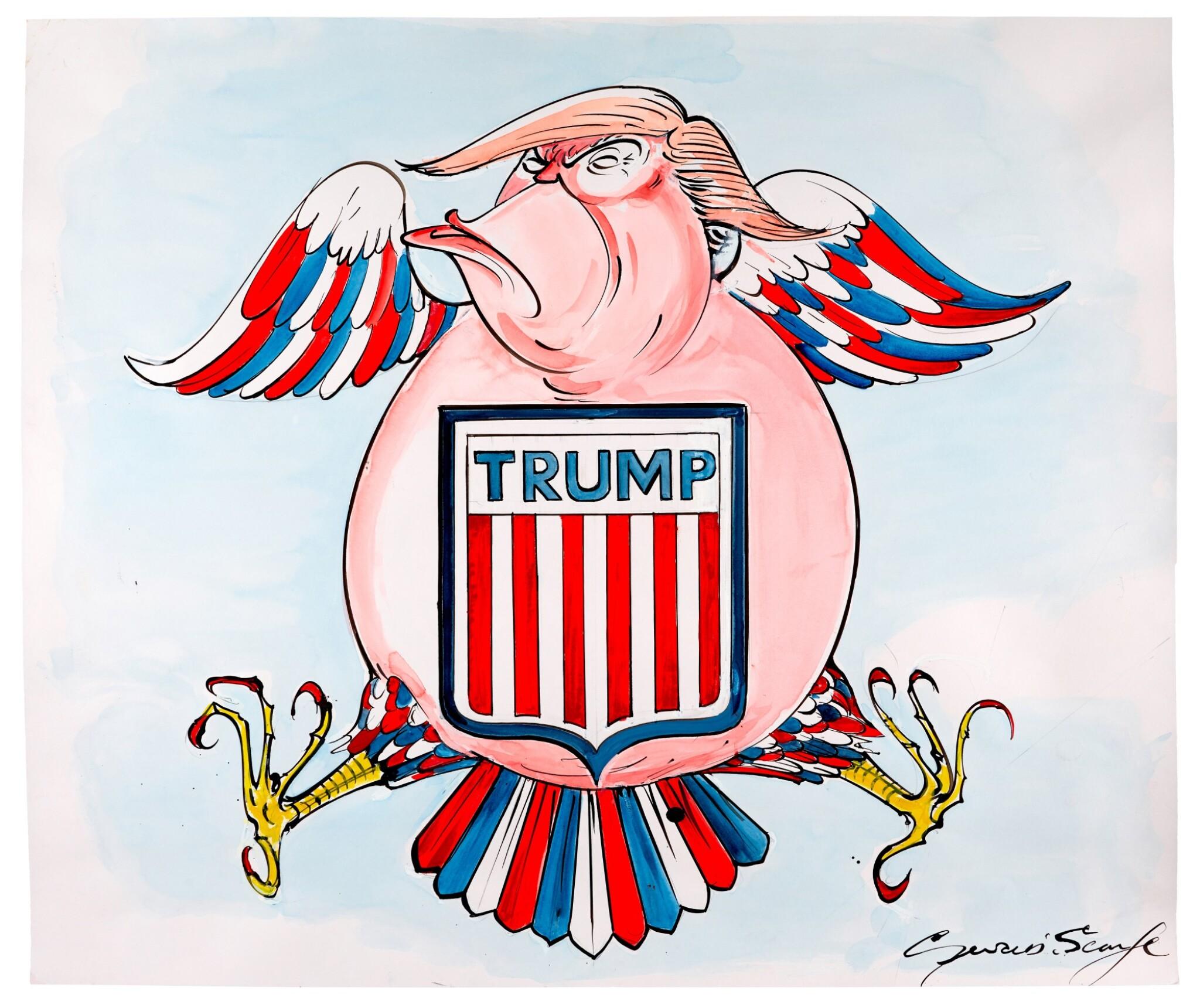 "SCARFE | [THE 2010s] | ""The American Eagle"" [Donald Trump]"
