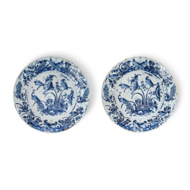 View 1. Thumbnail of Lot 513. A PAIR OF DUTCH DELFT BLUE AND WHITE LARGE CHARGERS, CIRCA 1700.