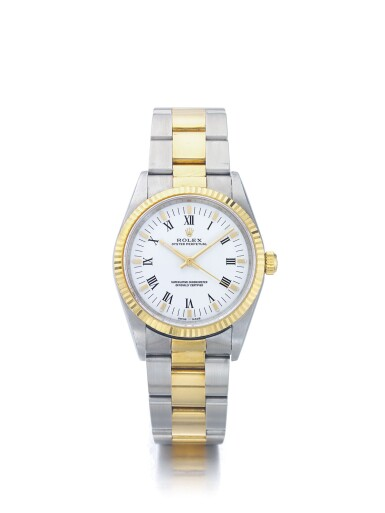 ROLEX | OYSTER PERPETUAL REF 14233M, A STAINLESS STEEL AND YELLOW GOLD AUTOMATIC WRISTWATCH WITH BRACELET CIRCA 2000