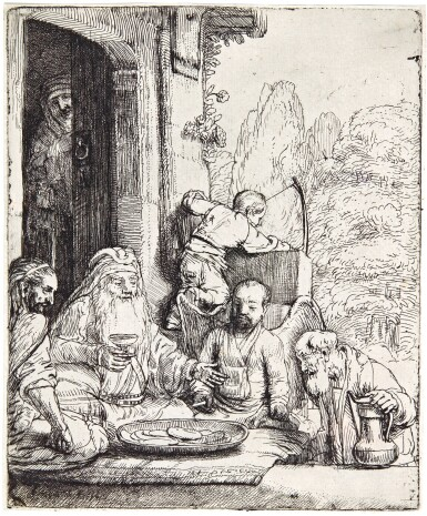 View 1. Thumbnail of Lot 57. REMBRANDT HARMENSZ. VAN RIJN | ABRAHAM ENTERTAINING THE ANGELS (B., HOLL. 29; NEW HOLL. 295; H. 286).