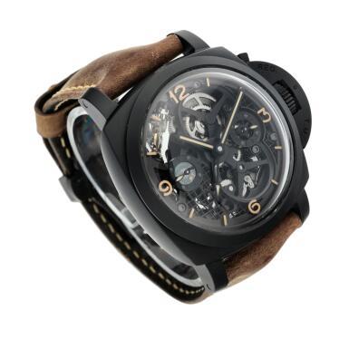 View 3. Thumbnail of Lot 311. Reference PAM00528 Luminor 1950 Tourbillon GMT  A limited edition black ceramic and titanium skeletonized tourbillon dual time wristwatch, Circa 2014.