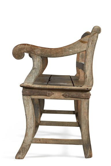 View 3. Thumbnail of Lot 138.  A LARGE TEAK 'BOMBAY' BENCH, INDIA, 19TH CENTURY.