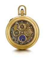 A RARE AND HEAVY GOLD AND DIAMOND-SET OPEN-FACED SKELETONISED TWO-TRAIN GRANDE SONNERIE CLOCK WATCH WITH TRIP MINUTE REPEATING CARILLON, PERPETUAL CALENDAR AND MOON PHASES NO. 1070, SOLD ON 24 NOVEMBER 1980 FOR 280,000 FRANCS [ 寶璣罕見黃金鑲鑽石鏤空雙發條大自鳴懷錶備三問鐘樂報時、萬年曆及月相顯示,編號1070,1980年11月24日以280,000法郎售出]