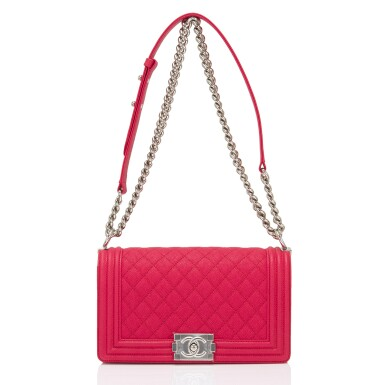 View 6. Thumbnail of Lot 186.  Chanel Red Quilted Old Medium Boy Bag of Caviar Leather with Silver Tone Hardware.