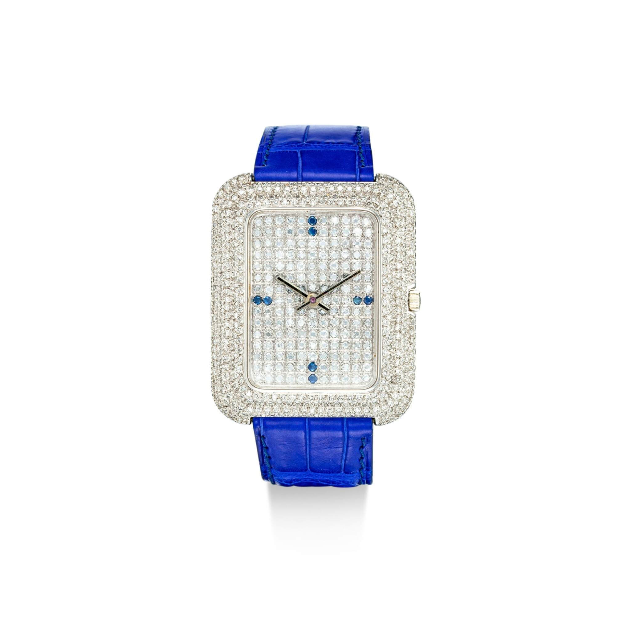View full screen - View 1 of Lot 1106. PIAGET   REFERENCE 14105, A WHITE GOLD, DIAMOND AND SAPPHIRE-SET WRISTWATCH WITH BETA 21 MOVEMENT, CIRCA 1970.