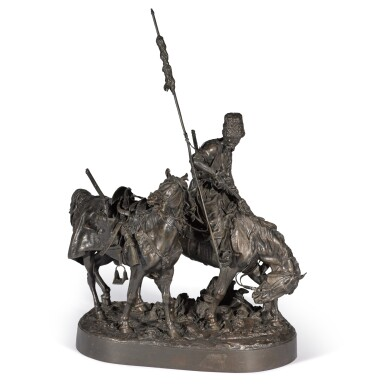 View 1. Thumbnail of Lot 290. Zaporozhian Cossack after Battle: A bronze figural group, cast by Chopin, after the model by Evgeny Lansere (1848-1886).