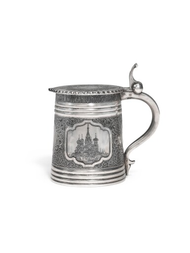 A silver and niello tankard, Vasily Semenov, Moscow, late 19th century