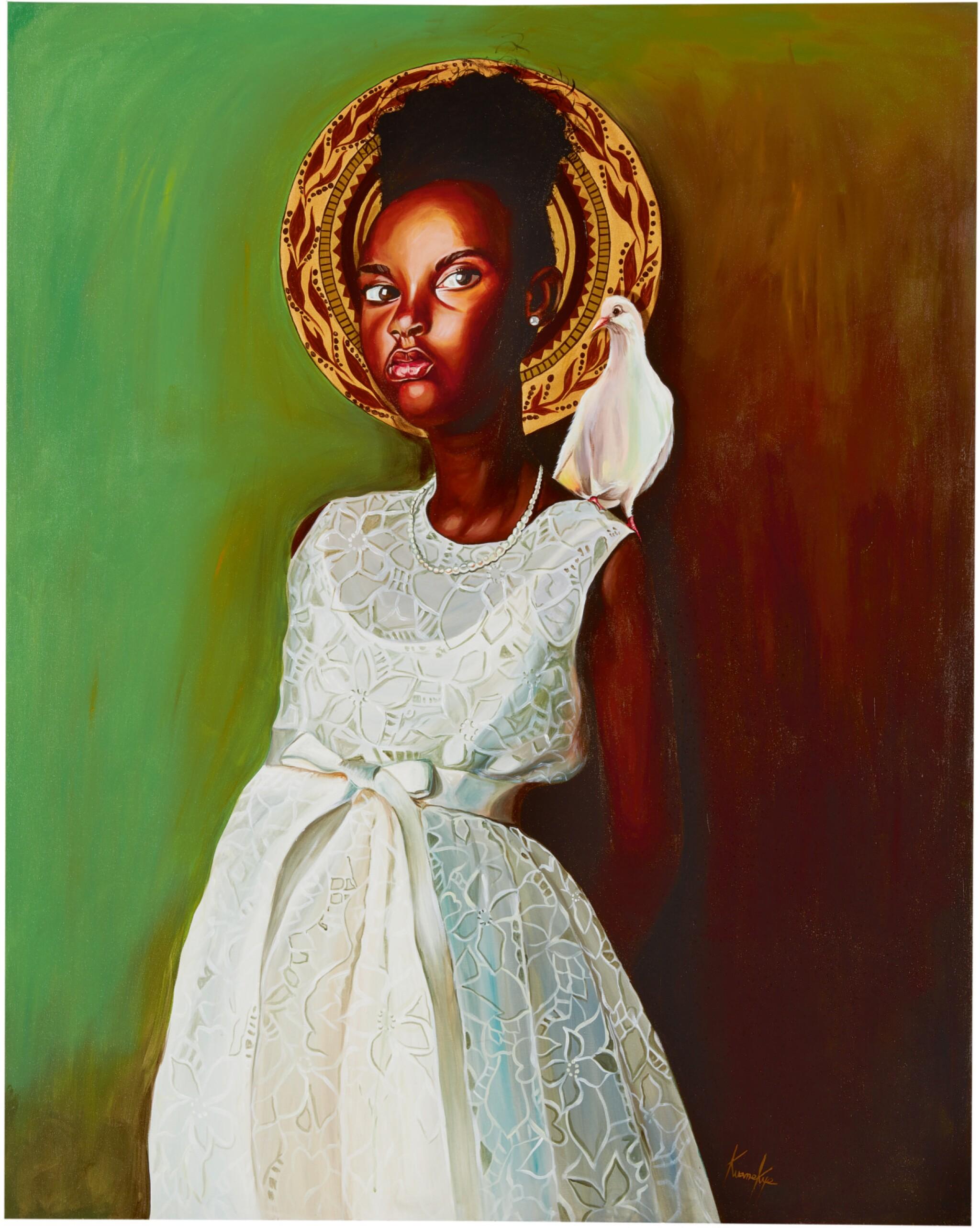 View full screen - View 1 of Lot 203. OTIS KWAME KYE QUAICOE | GIRL IN WHITE DRESS .