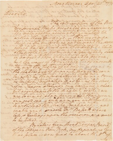 View 1. Thumbnail of Lot 267. Washington, George   A long and personal letter from Washington at Mt. Vernon.