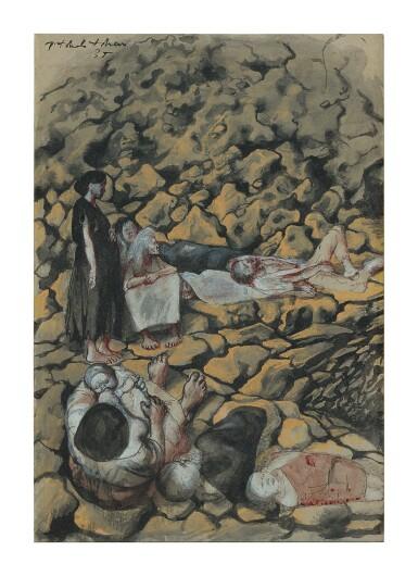 "PAVEL TCHELITCHEW |  SURVIVORS ON THE ROCKS (STUDY FOR ""PHENOMENA"")"