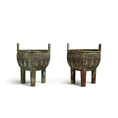 View 2. Thumbnail of Lot 1. An extremely rare pair of archaic bronze ritual food vessels (Ding), Late Shang dynasty   商末 子龔鼎一對.