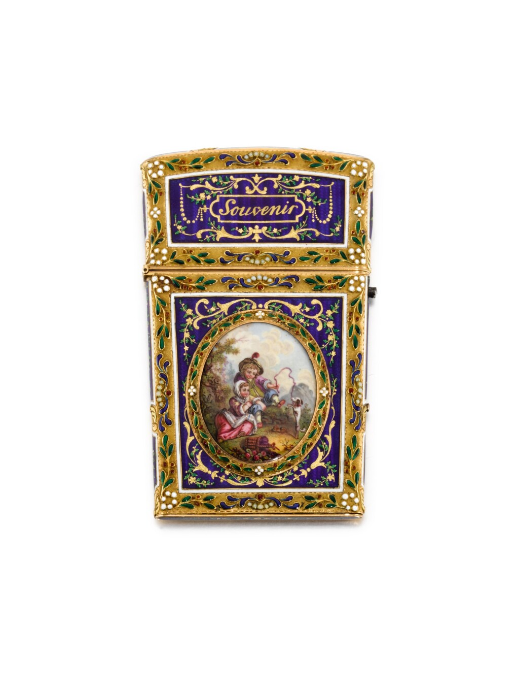 A GOLD AND ENAMEL SOUVENIR, PROBABLY FRENCH, LATE 19TH CENTURY