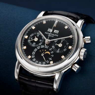 View 1. Thumbnail of Lot 41. REFERENCE 3970P A PLATINUM AND DIAMOND-SET PERPETUAL CALENDAR CHRONOGRAPH WRISTWATCH WITH MOON PHASES AND LEAP YEAR INDICATION, MADE IN 1996.