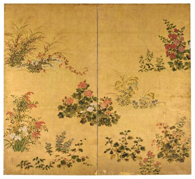 View 1. Thumbnail of Lot 8. RIMPA SCHOOL EDO PERIOD, 17TH-18TH CENTURY | GRASSES AND FLOWERS.