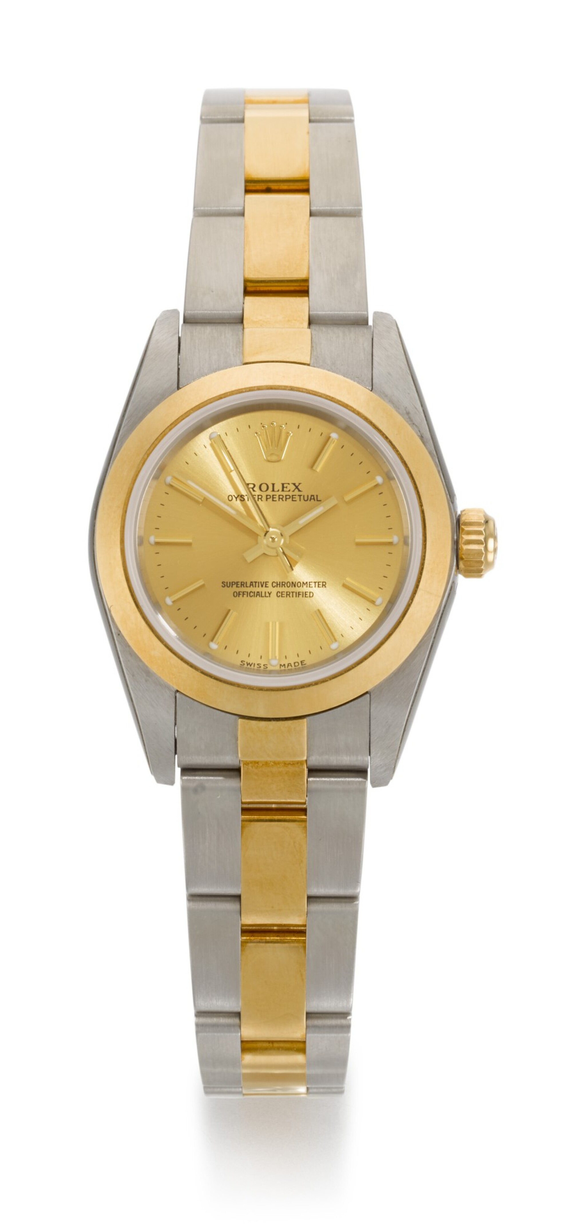 View full screen - View 1 of Lot 23. ROLEX | OYSTER PERPETUAL, REFERENCE 76183, STAINLESS STEEL AND YELLOW GOLD WRISTWATCH WITH BRACELET, CIRCA 2002.