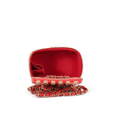 View 7. Thumbnail of Lot 70. Red and Beige Raffia and Jute Thread Mini Vanity Gold Hardware, 2021.