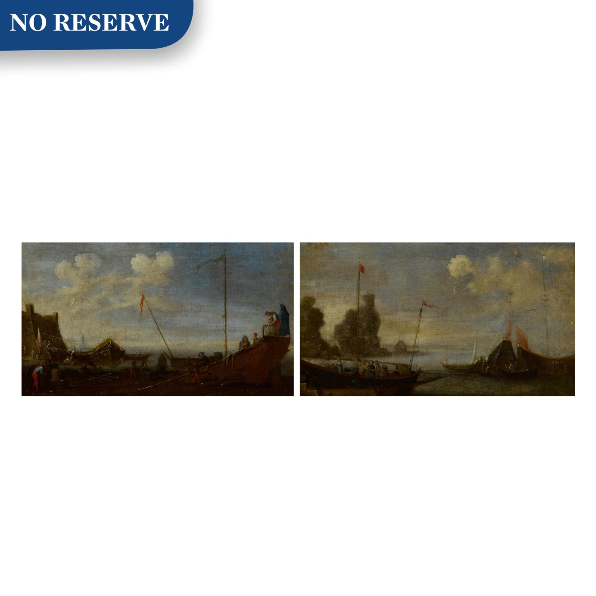View full screen - View 1 of Lot 99. A pair of shipping scenes with Maltese ships.