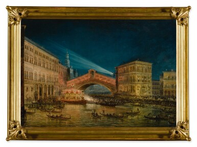 View 2. Thumbnail of Lot 668. Night-time view of the Rialto on the Feast of the Redentore.