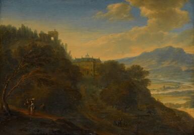 JOHANNES VORSTERMAN | A Rhenish landscape with figures on a path, a mansion beyond