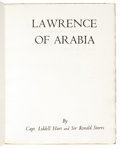 View 2. Thumbnail of Lot 120. [LAWRENCE, T.E.]--HART and STORRS   Lawrence of Arabia, 1936, no. 9/12 copies.