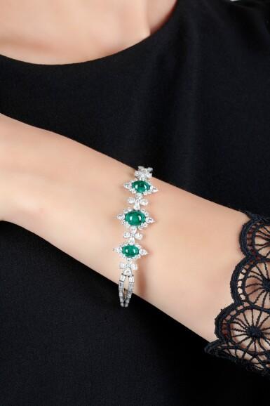 View 4. Thumbnail of Lot 1171. Emerald and diamond bracelet.