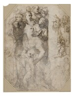 Recto: Two groups of figures, studies for the Frangipani Chapel, San Marcello al Corso Verso: Studies for the lunette above the altar in the Frangipani Chapel and an architectural design for a wall decoration