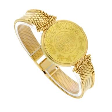 View 4. Thumbnail of Lot 66. A yellow gold coin bracelet watch, Circa 1970.