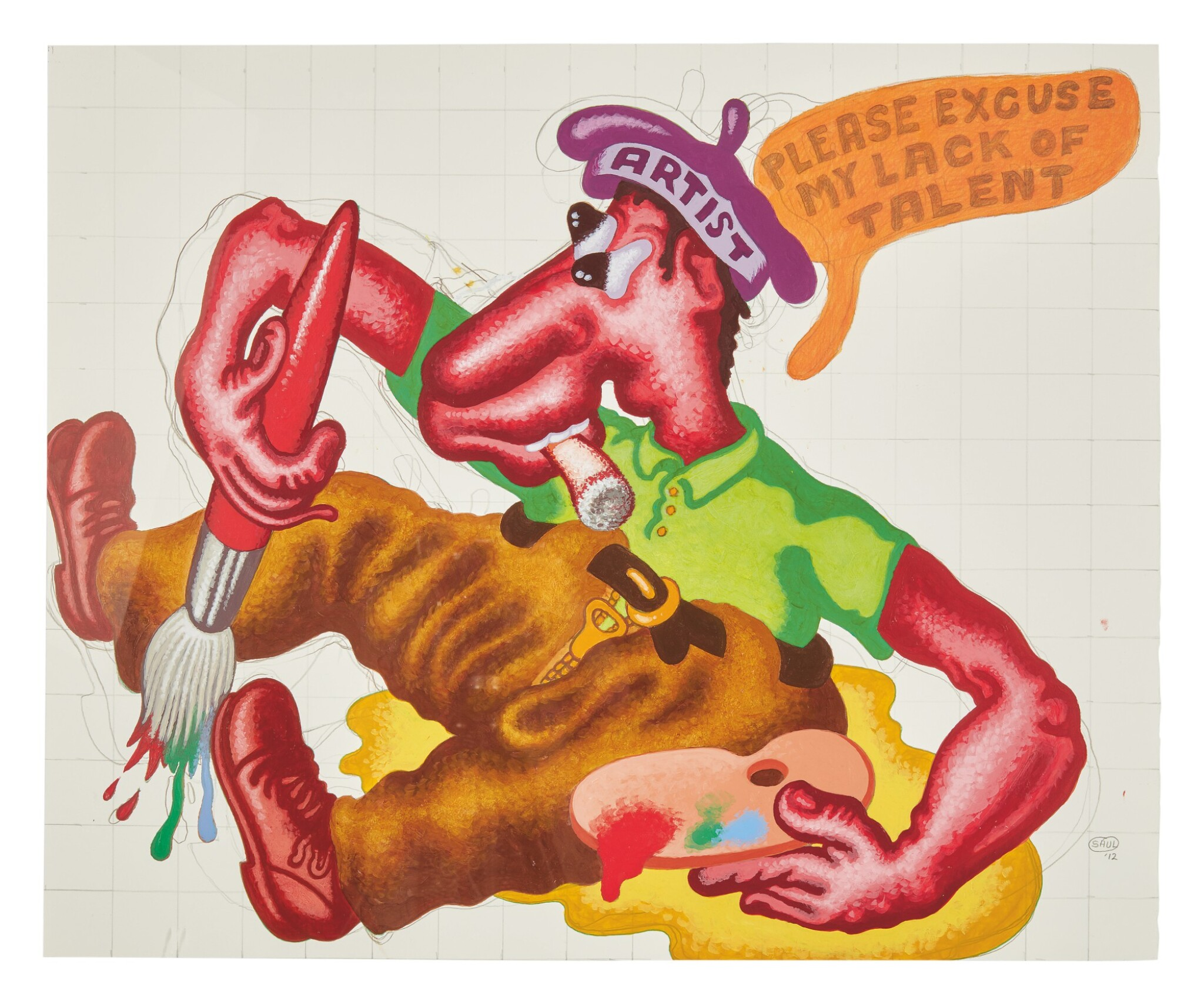 View 1 of Lot 424. PETER SAUL | PLEASE EXCUSE MY LACK OF TALENT.