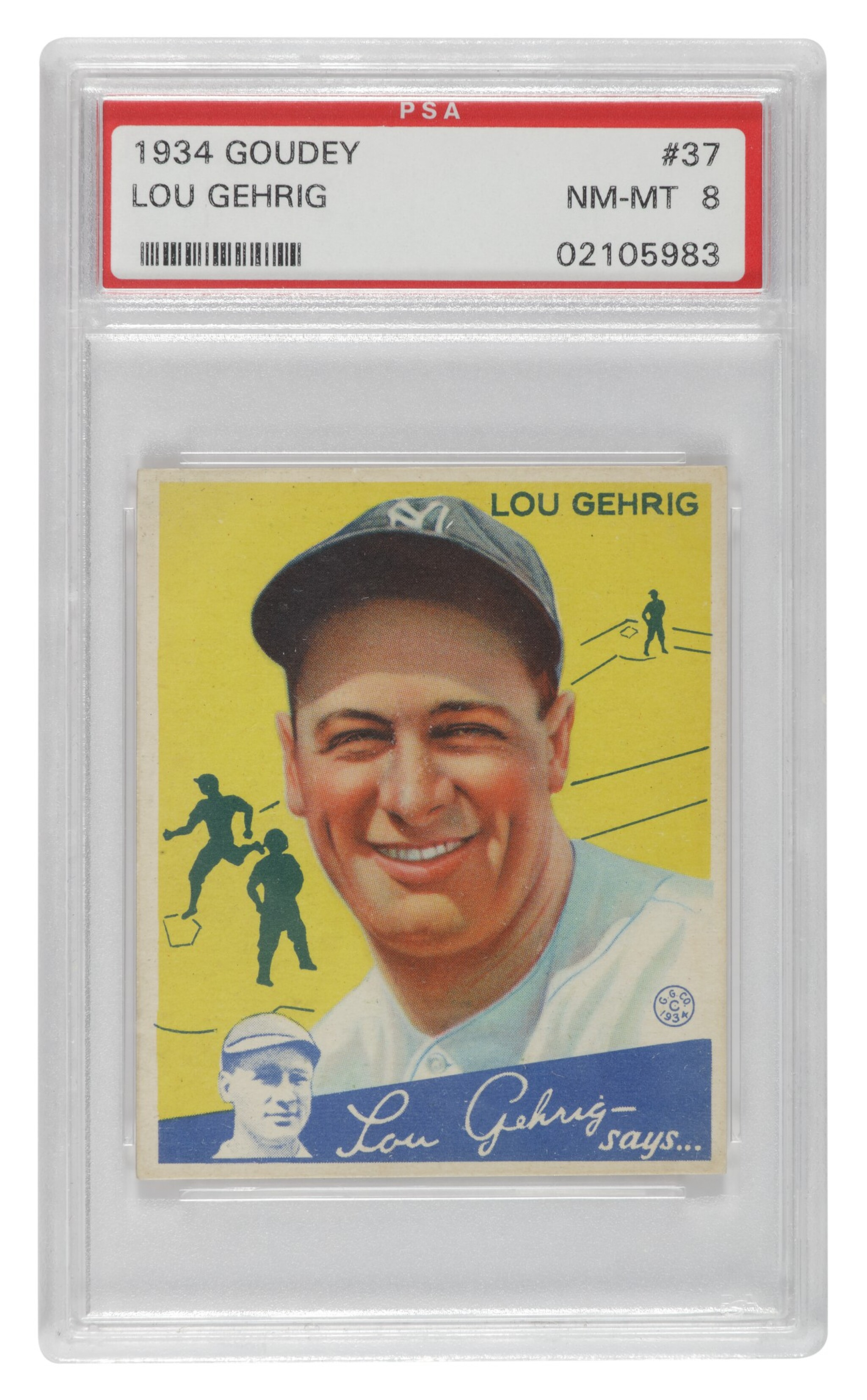 View full screen - View 1 of Lot 133. Gehrig, Lou | A PSA Near Mint-Mint 8 example of Goudey's 1934 Lou Gehrig #37 card.