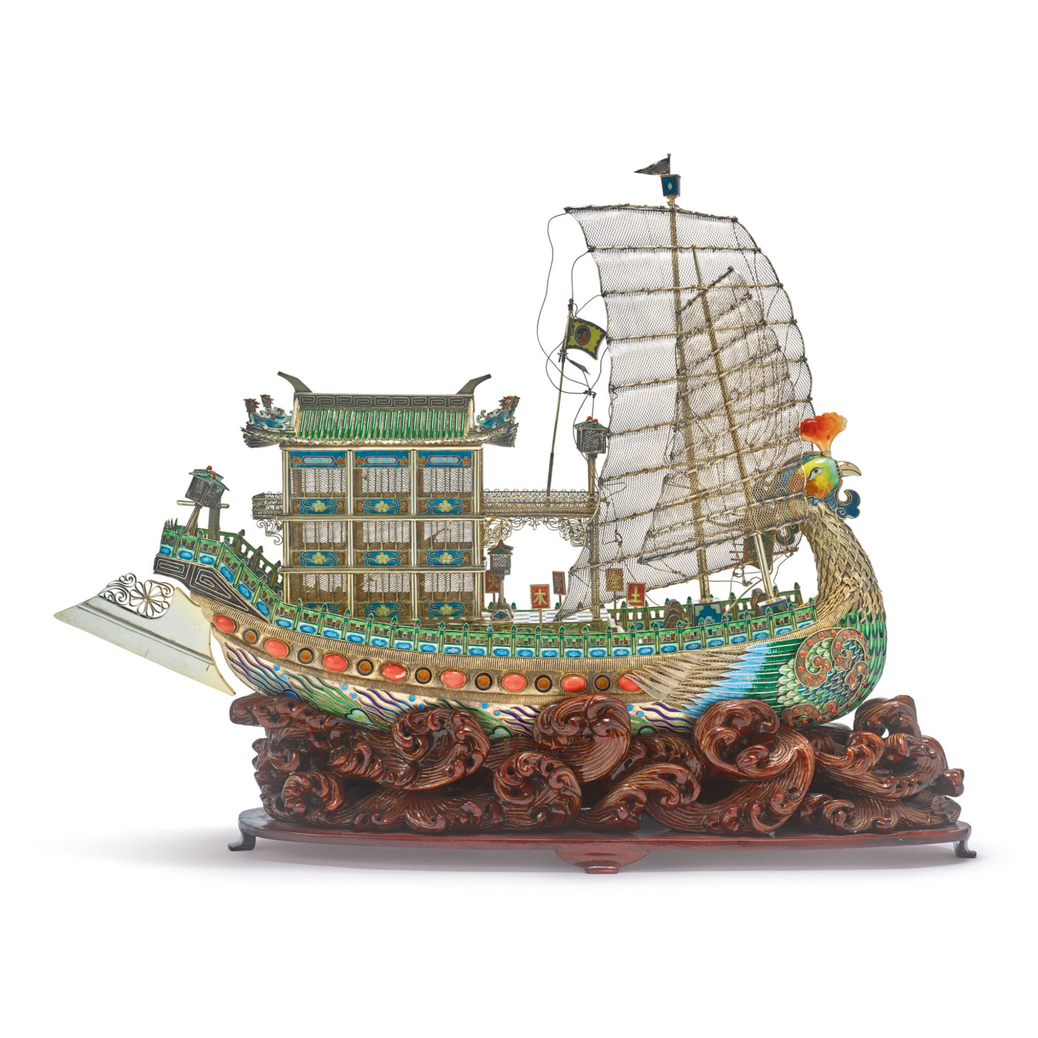 View full screen - View 1 of Lot 888. A CHINESE SILVER-GILT, ENAMEL, CORAL, AND HARDSTONE SHIP, 20TH CENTURY.
