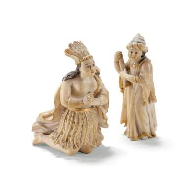 MEXICAN, 18TH CENTURY [MEXIQUE, XVIIIE SIÈCLE] | TWO PRECEPIO FIGURES OF AN AMERICAN INDIAN AND AN ASIAN INDIAN [DEUX FIGURES DE CRÈCHE REPRÉSENTANT UN INDIEN D'AMÉRIQUE ET UN INDIEN D'ASIE]
