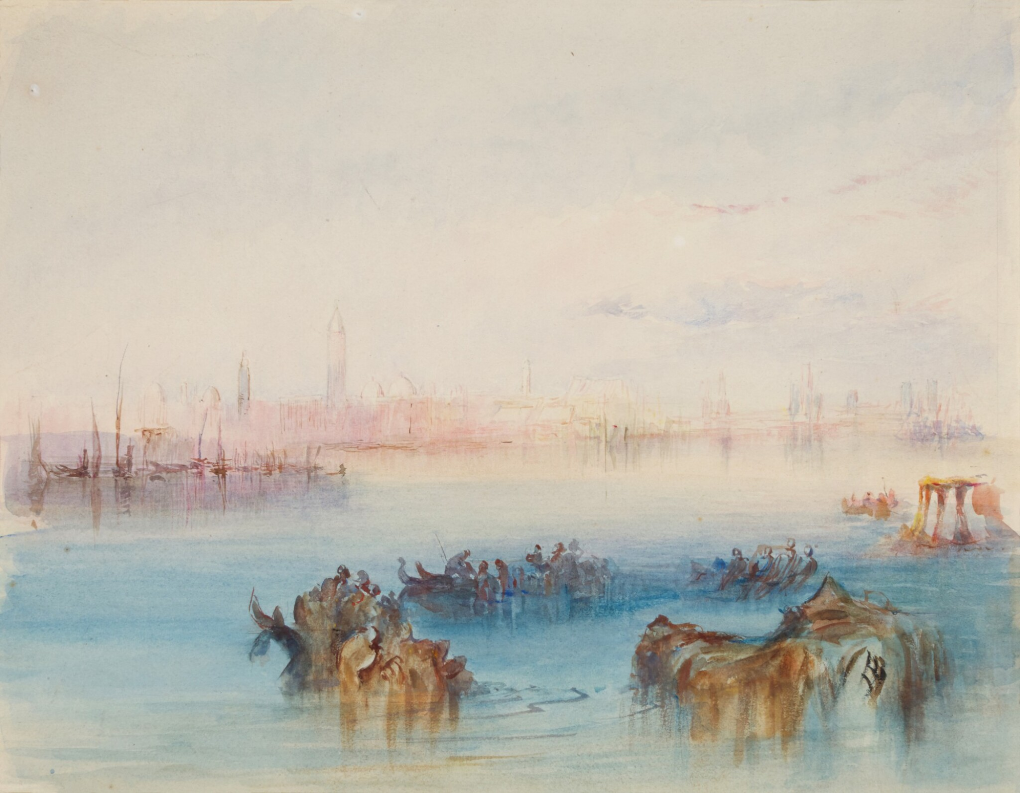 View 1 of Lot 212. Looking back on Venice from the Canale di San Marco to the East - After J.M.W. Turner, R.A..
