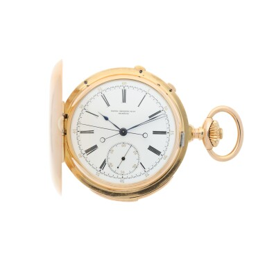 View 1. Thumbnail of Lot 40. PATEK PHILIPPE | A PINK GOLD MINUTE REPEATING HUNTING CASED SPLIT SECONDS CHRONOGRAPH WATCH, MADE IN 1892.