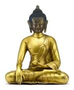 A MAGNIFICENT LARGE PARCEL-GILT BRONZE FIGURE OF SHAKYAMUNI BUDDHA, TIBET, 17TH CENTURY   十七世紀 藏傳局部鎏金銅釋迦牟尼佛坐像