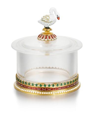 View 2. Thumbnail of Lot 40. A Fabergé gold, rock crystal and en plein enamel box, workmaster Michael Perchin, Moscow, circa 1890.