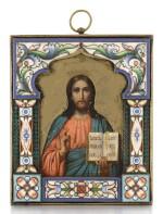 A SILVER-GILT AND CLOISONNÉ ENAMEL ICON OF CHRIST PANTOCRATOR, OVCHINNIKOV, MOSCOW, 1899-1914