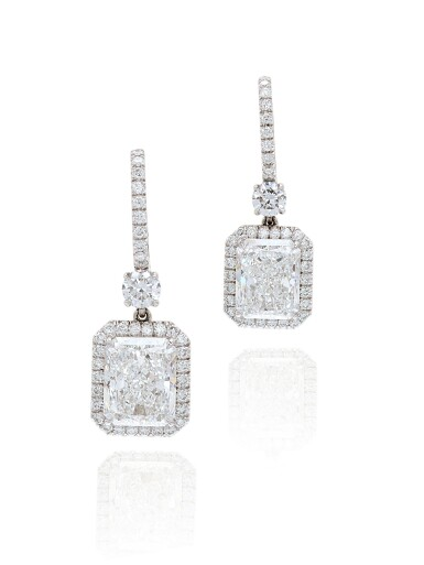 View 2. Thumbnail of Lot 1652. Pair of Diamond Pendent Earrings   3.02及3.02克拉 方形 D色 鑽石 耳墜一對.
