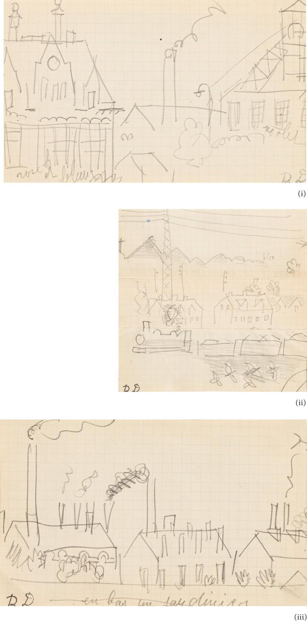 RAOUL DUFY | TROIS DESSINS : (I) PAYSAGE À LA CHEMINÉE (II) PAYSAGE AU TRAIN (III) VUE D'USINES