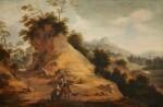 AERT JANSZ. MARIENHOF | Rocky landscape with hunters wearing oriental costume, conversing on a rocky path