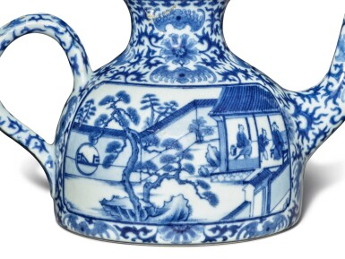 View 6. Thumbnail of Lot 76. An imperially inscribed blue and white 'Mount Hui Temple' teapot and cover, Seal mark and period of Qianlong | 清乾隆 青花御題詩烹茶圖闊底壺 《大清乾隆年製》款.