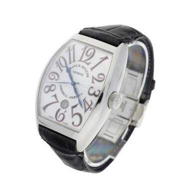 View 3. Thumbnail of Lot 69.  FRANCK MULLER | REFERENCE 8880 SC DT AMERICA-AMERICA  A LIMITED EDITION STAINLESS STEEL TONNEAU-SHAPED AUTOMATIC WRISTWATCH WITH DATE, CIRCA 2008.