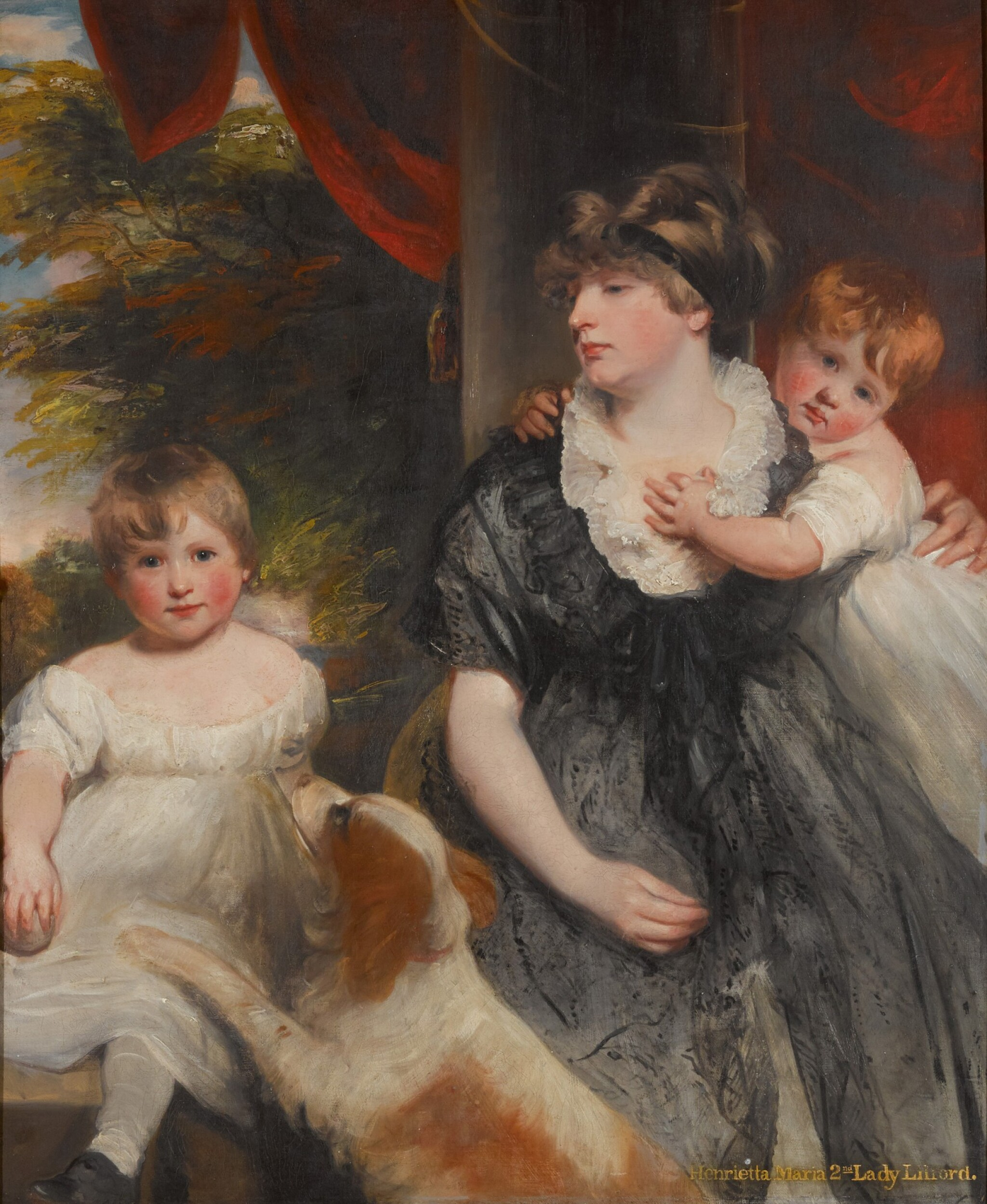 View full screen - View 1 of Lot 196. Henrietta Maria Vernon Atherton, 2nd Lady Lilford (d. 1820), of Atherton Hall, Leigh, with her two children.